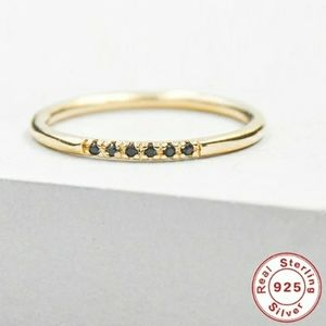 NEW Gold Pave Blk Diomonelle Eternity Band Ring